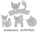 vector set of sketch cat... | Shutterstock .eps vector #627874925