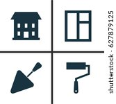 building icons set. collection... | Shutterstock .eps vector #627879125
