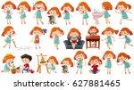 girl in different actions... | Shutterstock .eps vector #627881465