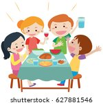 people having meal at dining... | Shutterstock .eps vector #627881546