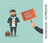 happy bearded businessman got ... | Shutterstock .eps vector #627881642