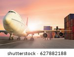 airplane at airport with... | Shutterstock . vector #627882188