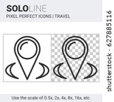 pixel perfect solo line map... | Shutterstock .eps vector #627885116