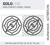 pixel perfect solo line compass ... | Shutterstock .eps vector #627885146