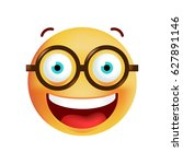 cute emoticon with glasses on... | Shutterstock .eps vector #627891146