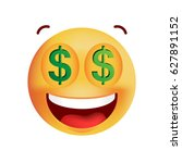 cute rich emoticon on white... | Shutterstock .eps vector #627891152