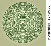 Stylized Aztec Calendar In...