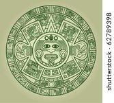 Stylized Aztec Calendar In...