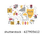 creative learning line icons... | Shutterstock .eps vector #627905612