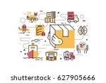 logistics and transportation... | Shutterstock .eps vector #627905666
