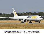 Small photo of FRANKFURT,GERMANY-AUG 22: AeroLogic Boeing 777F lands at airport on August 22,2015 in Frankfurt,Germany.AeroLogic is a German cargo airline based in Schkeuditz near Leipzig.