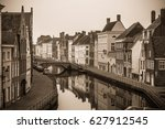 belgium. brugge. old town canal ... | Shutterstock . vector #627912545