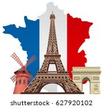 concept illustration of french... | Shutterstock .eps vector #627920102