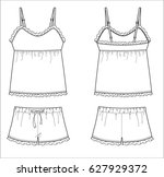 ruffle tank top and shorts... | Shutterstock .eps vector #627929372