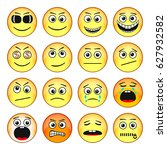 set of emoticons. funny faces... | Shutterstock . vector #627932582