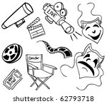 movie item doodles | Shutterstock . vector #62793718