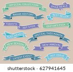 colored hand drawn ribbon... | Shutterstock .eps vector #627941645