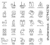 icons of cleaning  disinfection ... | Shutterstock .eps vector #627942782