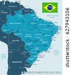brazil map vector | Shutterstock .eps vector #627943106