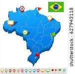 brazil map vector   Shutterstock .eps vector #627943118