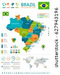 brazil map vector info graphic | Shutterstock .eps vector #627943196
