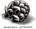 roman artichokes freshly... | Shutterstock .eps vector #627944102