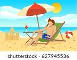 flat summer vacation concept... | Shutterstock .eps vector #627945536