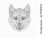 vector dog in thin line style.... | Shutterstock .eps vector #627958952
