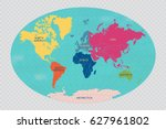 world map with grid  vector... | Shutterstock .eps vector #627961802