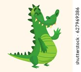 cartoon shy crocodile smiling... | Shutterstock .eps vector #627969386