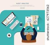 flat design.assessment audit ... | Shutterstock .eps vector #627973562