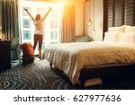 happy backpacker traveller stay ... | Shutterstock . vector #627977636