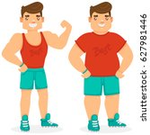 fat and slim man  before and... | Shutterstock .eps vector #627981446