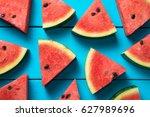 summer concept   sliced... | Shutterstock . vector #627989696