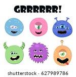 Cute Cartoon Round Monsters Se...