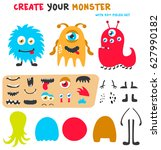 cartoon funny monsters creation ... | Shutterstock .eps vector #627990182