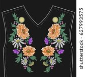 embroidery stitches with wild... | Shutterstock .eps vector #627993575