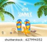 summer beach background | Shutterstock . vector #627994352