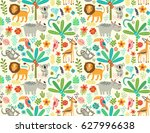 seamless pattern with jungle... | Shutterstock .eps vector #627996638