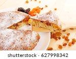 homemade cake on a white plate...   Shutterstock . vector #627998342