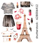 watercolor fashion illustration.... | Shutterstock . vector #628006412