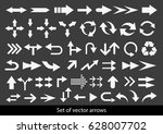 vector set of white arrows on... | Shutterstock .eps vector #628007702