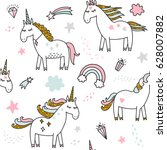 unicorn magic seamless pattern | Shutterstock .eps vector #628007882