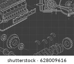 technical grey background with... | Shutterstock .eps vector #628009616
