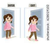 little girl enter and exit door ... | Shutterstock .eps vector #628019102