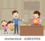 happy family with dad  mom ... | Shutterstock .eps vector #628019456