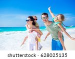 young family on vacation have a ... | Shutterstock . vector #628025135