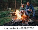 father with son warm near... | Shutterstock . vector #628027658