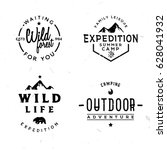 set of outdoor logotypes in... | Shutterstock .eps vector #628041932