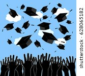 graduate hands throwing up... | Shutterstock .eps vector #628065182
